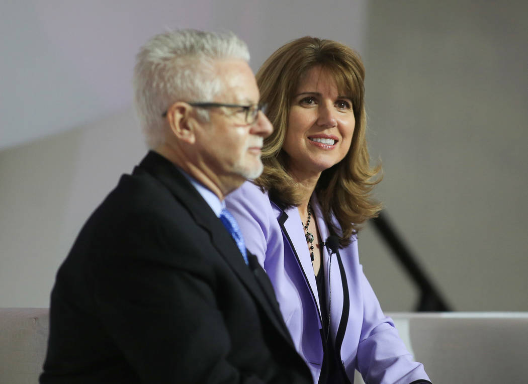 Brett Le Blanc/Las Vegas Business Press Laura Hennum, right, Regional CEO of Dignity Health, and Dr. Bard Coats, market president of Healthcare Partners Nevada, sit on a panel during the Healthcar ...