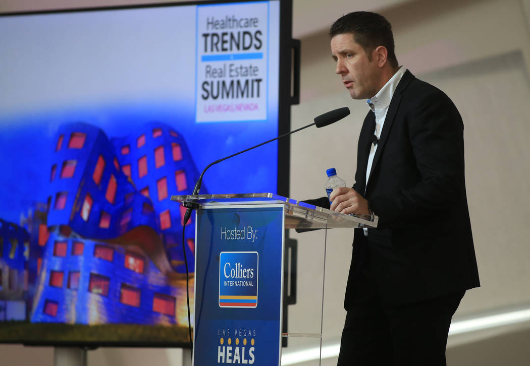 Doug Gainer, CEO of Las Vegas Heals, moderates a panel during the Healthcare Trends and Real Estate Summit at the Keep Memory Alive Event Center April 6. (Brett Le Blanc/Las Vegas Business Press)