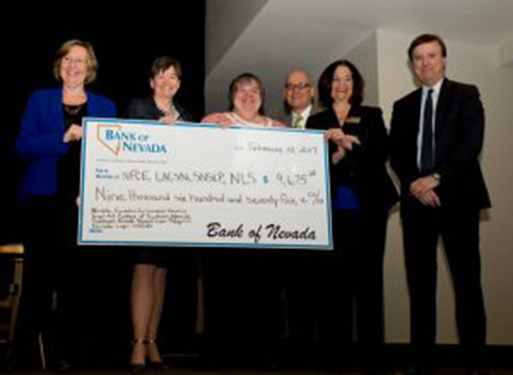 Bank of Nevada donated $9,675 to four nonprofit organizations providing legal services at no cost to clients or at a reduced fee. Pictured L to R: Barbara Buckley, Legal Aid of Southern Nevada, Ra ...