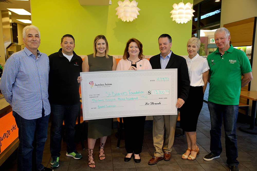 Jamba Juice donated more than $13,300 to the St. Baldrick's Foundation. L to R are: Phil Patent, president, FC Juice Partners, Jamba Juice; Cary Karrer, director of operations, FC Juice Partners ...