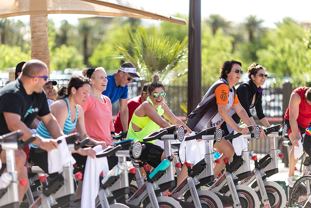 "Riders participating in relay ride during Life Time Athletic Green Valley's annual cycling fundraiser, ""Ride for a Reason."" (Courtesy Jeff Ragazzo)"