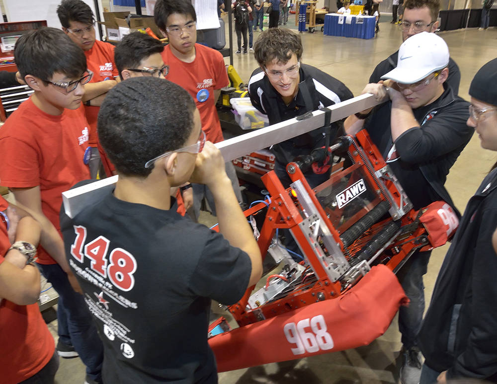 Team members from West Covina High School in Los Angeles operate their robot during the FIRST Robotics regional competition in the Cashman Event Center at 850 N. Las Vegas Blvd. in Las Vegas on Ap ...