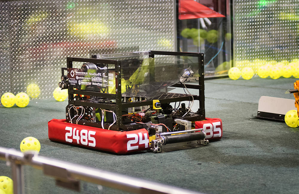 A robot is shown in the arena during the FIRST Robotics regional competition. (Bill Hughes/Las Vegas Business Press)