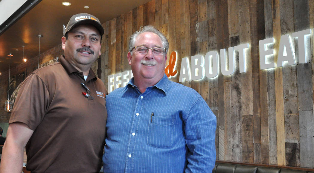 Sharky's Woodfired Mexican Grill COO David Goldstein, right, and Abel Rodriguez, regional food supervisor and quality assurance auditor, at the chain's newest location, 8975 W. Charleston Blvd. Bu ...