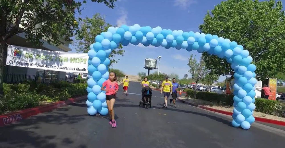 Families participating in the eighth annual 5K Race for Hope and Fun Walk April 29, supporting Autism Awareness Month. (Courtesy)
