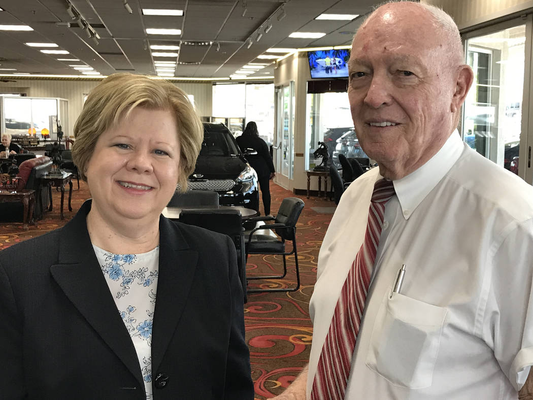 Mentoring Moments host  Debbie Donaldson speaks career advice with Jim Marsh, proprietor of Jim Marsh Automotive. (Buford Davis / Las Vegas Business Press)