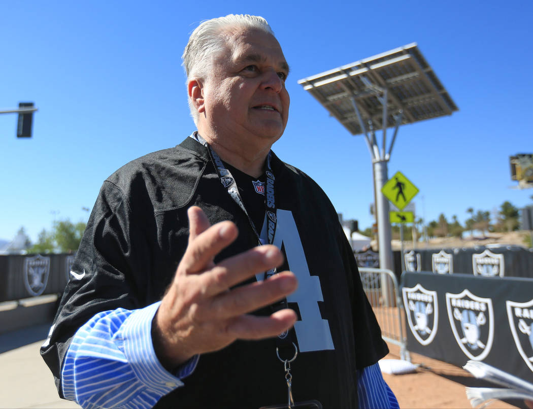 Clark County Commissioner Steve Sisolak answers questions about the Raiders move to Las Vegas during a draft day party for the Raiders at the welcome to Las Vegas sign. (Brett Le Blanc Las Vegas B ...