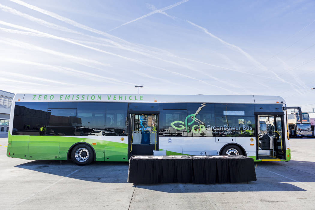 A GreenPower transit bus was showcased in a March 8 event held by Regional Transportation Commission of Southern Nevada and NV Energy officials at the RTC Training Center. (Elizabeth Brumley/Las V ...
