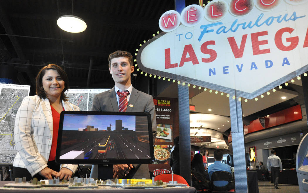 UNLV students Maria Evans and Steven Andra designed a light rail system to connect McCarran International Airport to properties along the length of Las Vegas Boulevard. Photo by Buford Davis / Las ...