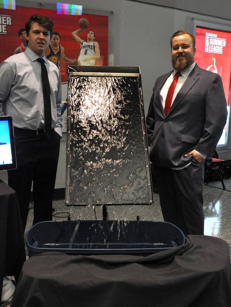 Austin Rising, left, and Srdjan Bosnjak, from the UNLV Department of Mechanical Engineering, created the Wastewater Evaporator, which they say significantly increases evaporation rates without the ...