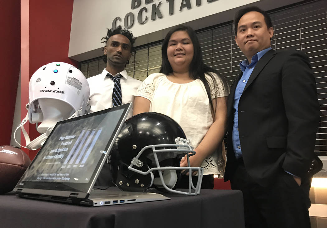 UNLV Department of Electrical and Computer Engineering students Wale Gebre, Andrea Aldana, and Co Nguyen designed a system to collect data on helmet impact during high-impact sports events, such a ...