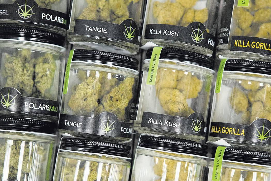 Marijuana products sit in a drawer at Blum Las Vegas Medical Marijuana Dispensary.  (Bridget Bennett/Las Business Press) @bridgetkbennett
