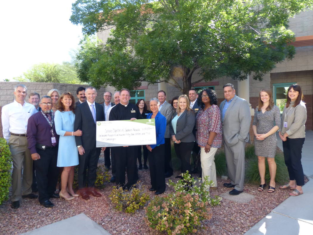 Southwest Gas presented a check of $100,554 to Catholic Charities of Southern Nevada as part of its 2017 Fuel For Life Campaign, which provides direct financial support to area nonprofits. (Courtesy)