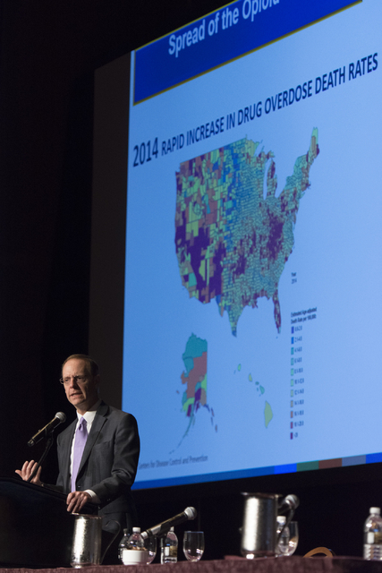 Scott Pattison, executive director of the National Governors Association, speaks during Gov. Brian Sandoval's Prescription Drug Abuse Prevention Summit last summer. (Jason Ogulnik/Las Vegas Busine ...