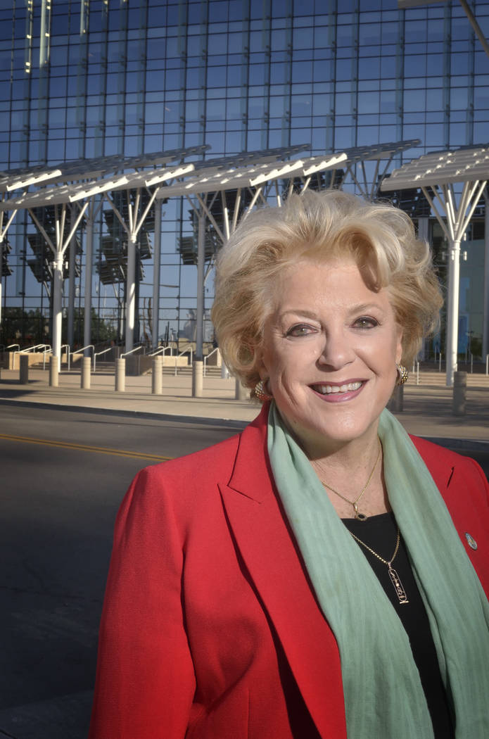 Las Vegas Mayor Carolyn Goodman is shown in front of the solar panels at City Hall at 495 S. Main St. in Las Vegas on Thursday, April 20, 2017. (Bill Hughes/Las Vegas Business Press)