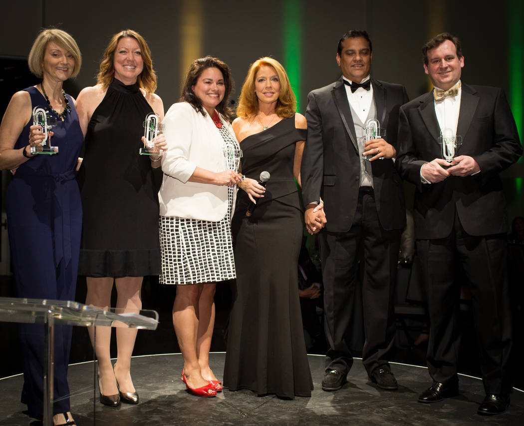 Nonprofit winners, left to right: Smith Center for the Performing Arts Vice President of Marketing Communications Suzanne Chabre, Grant a Gift Autism Foundation founder Lunda Tache, National Counc ...