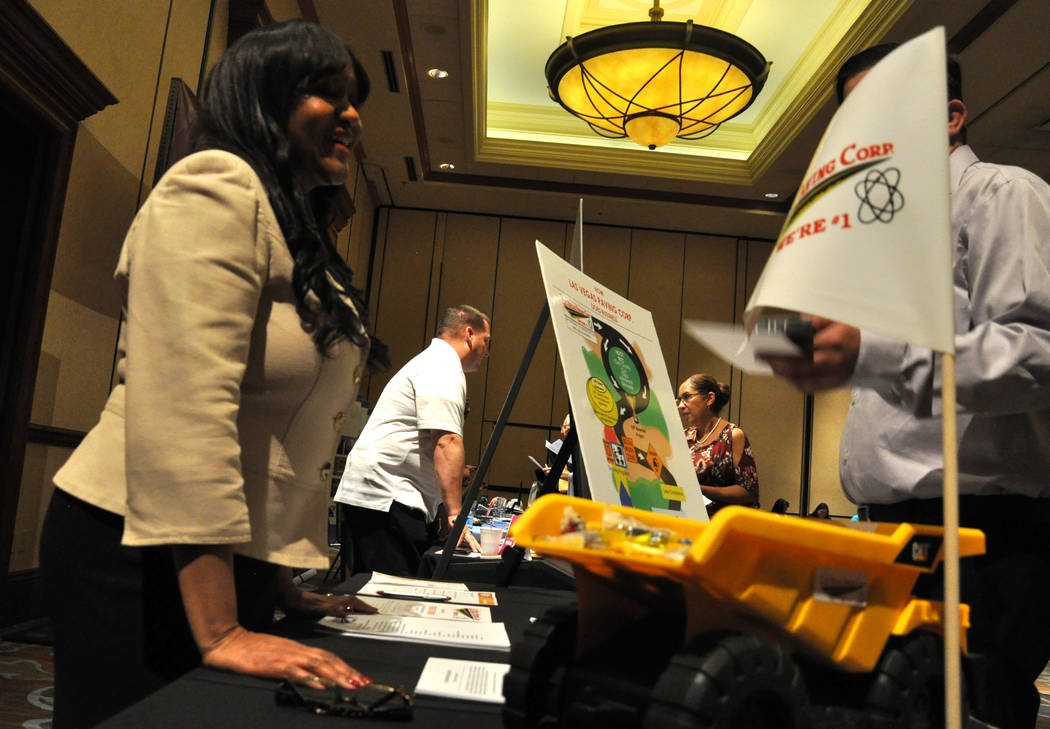 Lorraine Marshall, left, diversity consultant for Las Vegas Paving Corp., was among the vendors attending Careers in Motion at Texas Station, May 17. Photo by Buford Davis / Las Vegas Business Press