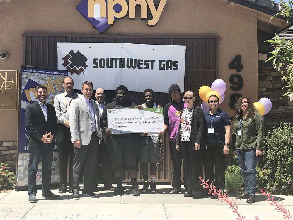 Southwest Gas employees donated more than $50,000 to Nevada Partnership for Homeless Youth to support the nonprofit's continued battle against youth homelessness. (Courtesy)