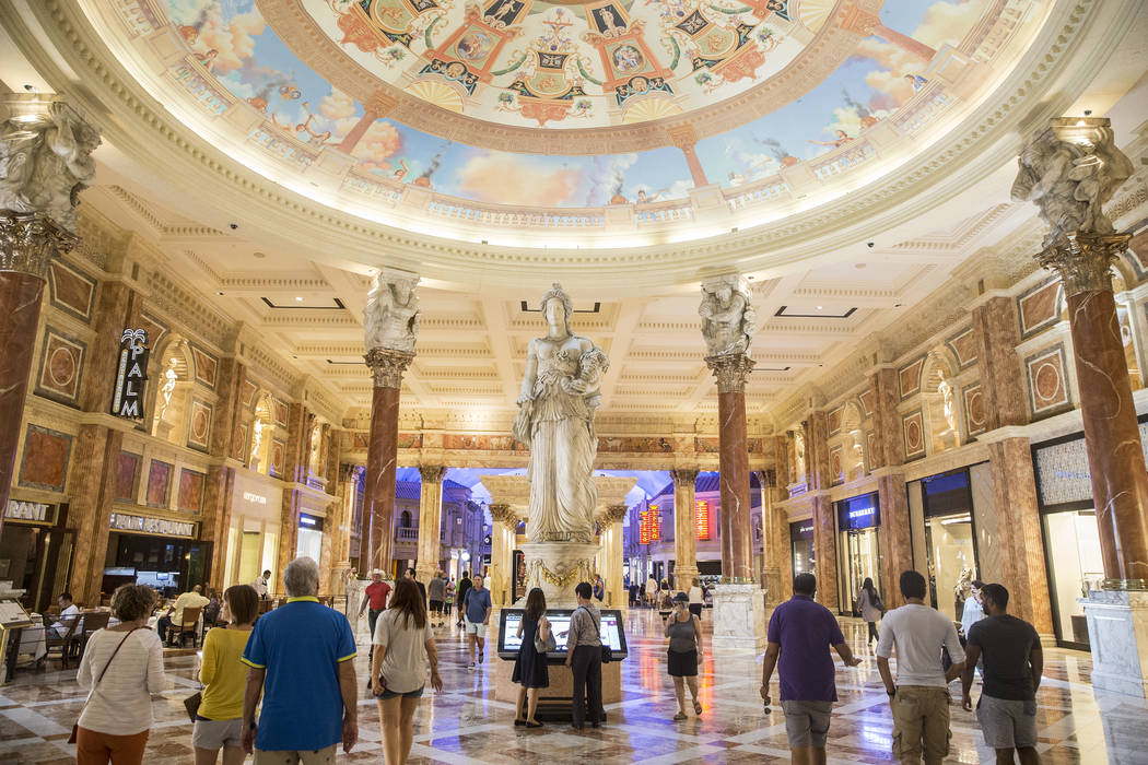 Shoppers walk the halls of the Forum Shops on May 3 at Caesars Palace. (Benjamin Hager Las Vegas Business Press)