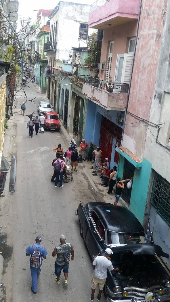 "Street scene in Old Havana, taken from the balcony of one of the ""casa particulares,"" or private home, the students stayed in. (Anthony Guttman/UNLV student)"