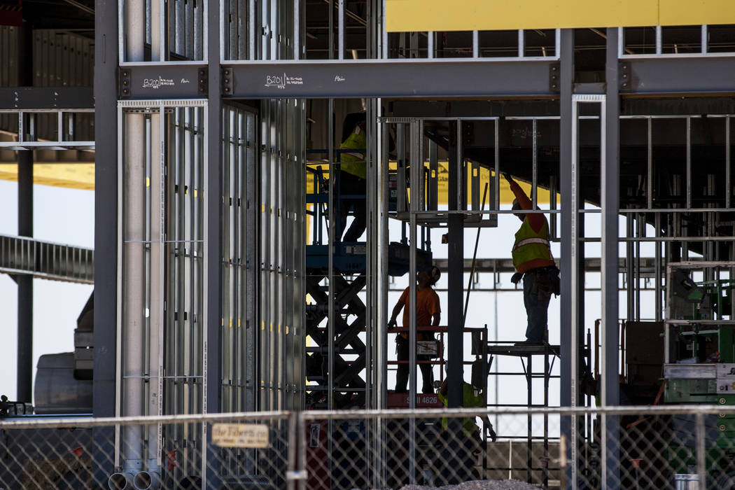 Workers at the construction site of the new Findlay Subaru near Rainbow Boulevard and 215 West on Monday, June 5, 2017. Patrick Connolly Las Vegas Review-Journal @PConnPie