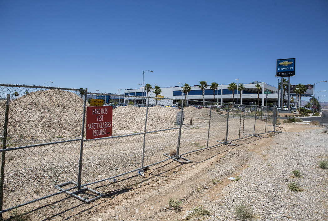 Findlay Chevrolet is seen in the background of the construction site of the new Findlay Subaru near Rainbow Boulevard and 215 West on Monday, June 5, 2017. Patrick Connolly Las Vegas Review-Journa ...