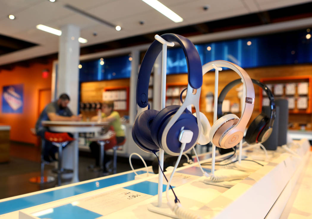 Headphones displayed of sale at an AT&T store located at 920 S. Rampart Blvd. in Las Vegas,  Monday, June 5, 2017.  Elizabeth Brumley/Las Vegas Review-Journal