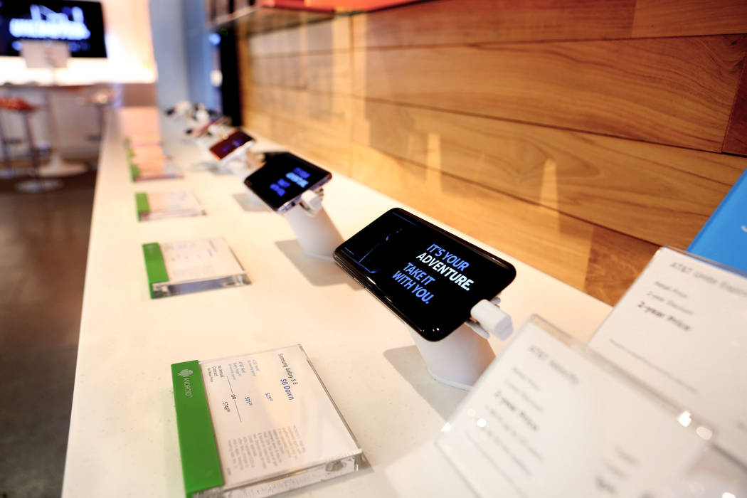 Phones on display at an AT&T store located at 920 S. Rampart Blvd. in Las Vegas,  Monday, June 5, 2017.  Elizabeth Brumley/Las Vegas Review-Journal