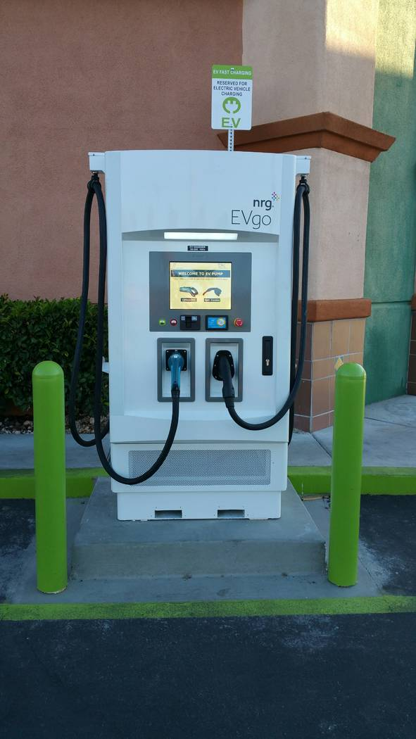 Stan Hanel/Las Vegas Business Press One of a dozen NRG EVgo DC Fast Charge stations installed at Terrible Herbst service stations around the Las Vegas Valley.
