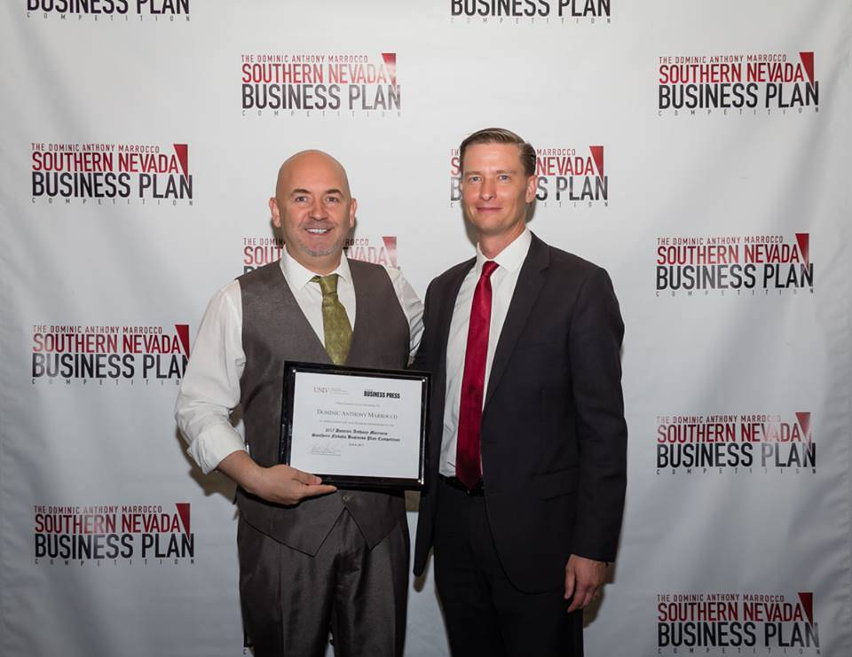 Leith Martin director of the Center for Entrepreneurship, right, thanks Dominic Anthony Marrocco for his eighth year of support of the UNLV Business Plan Competition. (Courtesy UNLV)