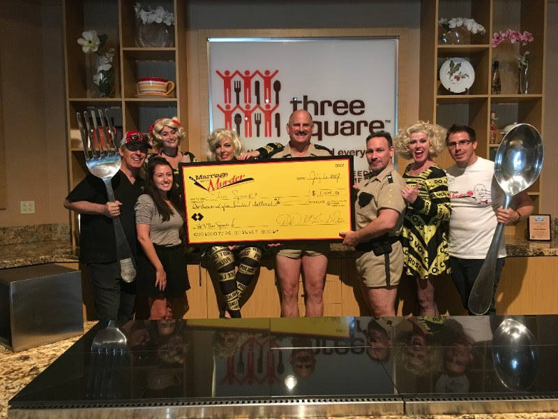 """Marriage Can Be Murder,"" donated more than $1,400 to Three Square during Restaurant Week, June 19 to June 30."