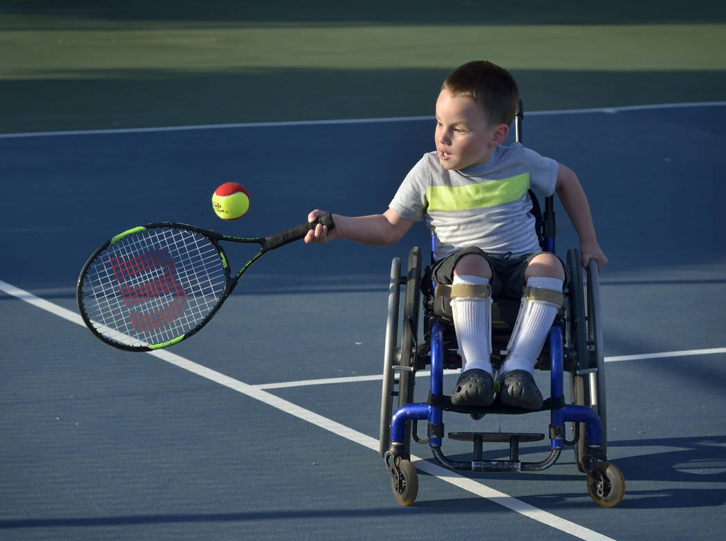 Francis McCabe III plays tennis at the Aliante Nature Discovery Park at 2627 Nature Park Drive in North Las Vegas. (Bill Hughes Business of Medicine)