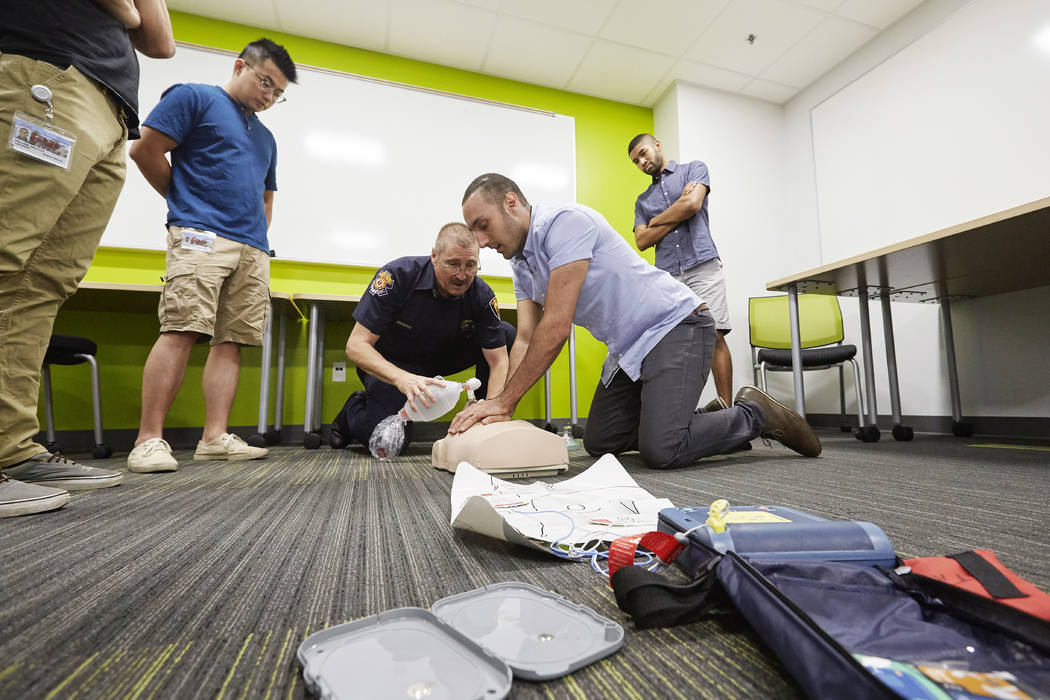 School of Medicine students take a CPR certification course on July 19, 2017. R. (Marsh Starks UNLV Creative Services)