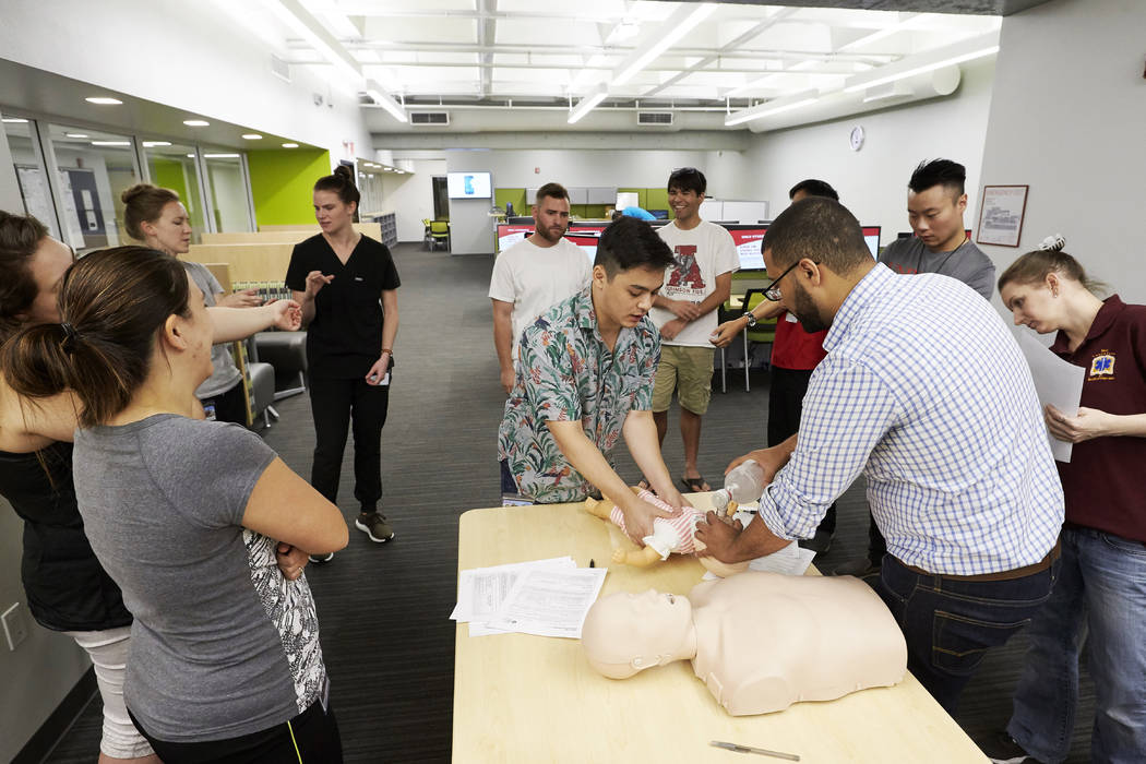 In addition to going out in the neighborhoods, the students also began their medical study by training as emergency medical technicians. (R. Marsh Starks UNLV Creative Services)