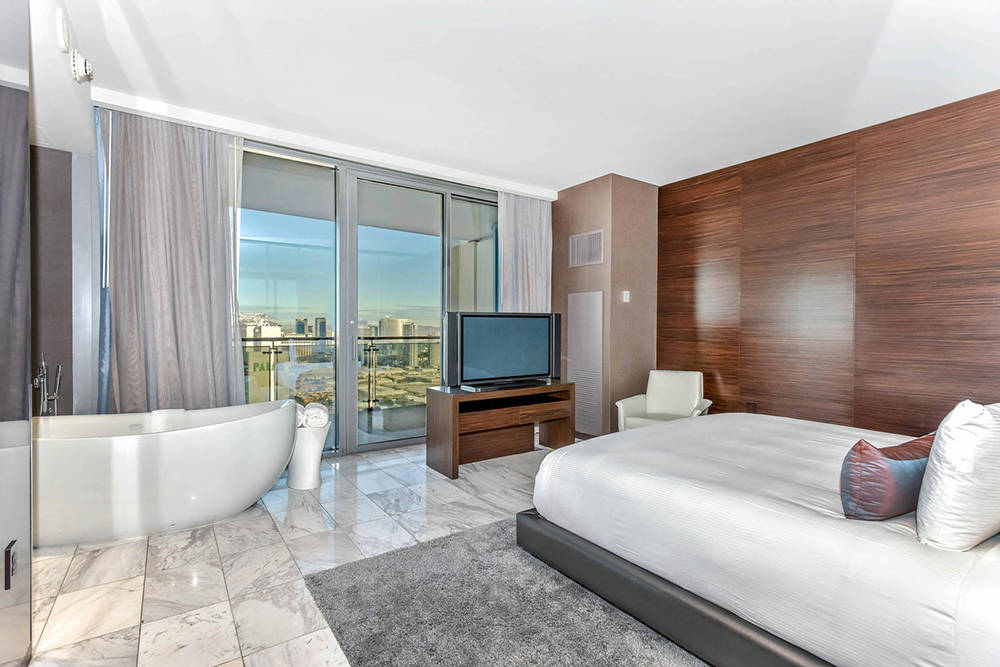 The master bedroom and bath in one of the Palms Place unit on Flamingo Road. (Palms Place)