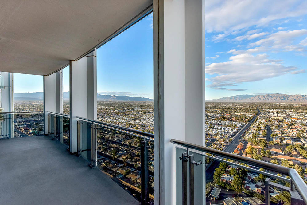 A balcony view from a Palms Place unit on Flamingo Road. (Palms Place)