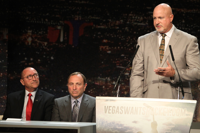 Rossi Ralenkotter, from left, president of Las Vegas Convention and Visitors Authority, NHL Commissioner Gary Bettman, listen to Mark Prows, senior vice president arenas at MGM Resorts, during the ...