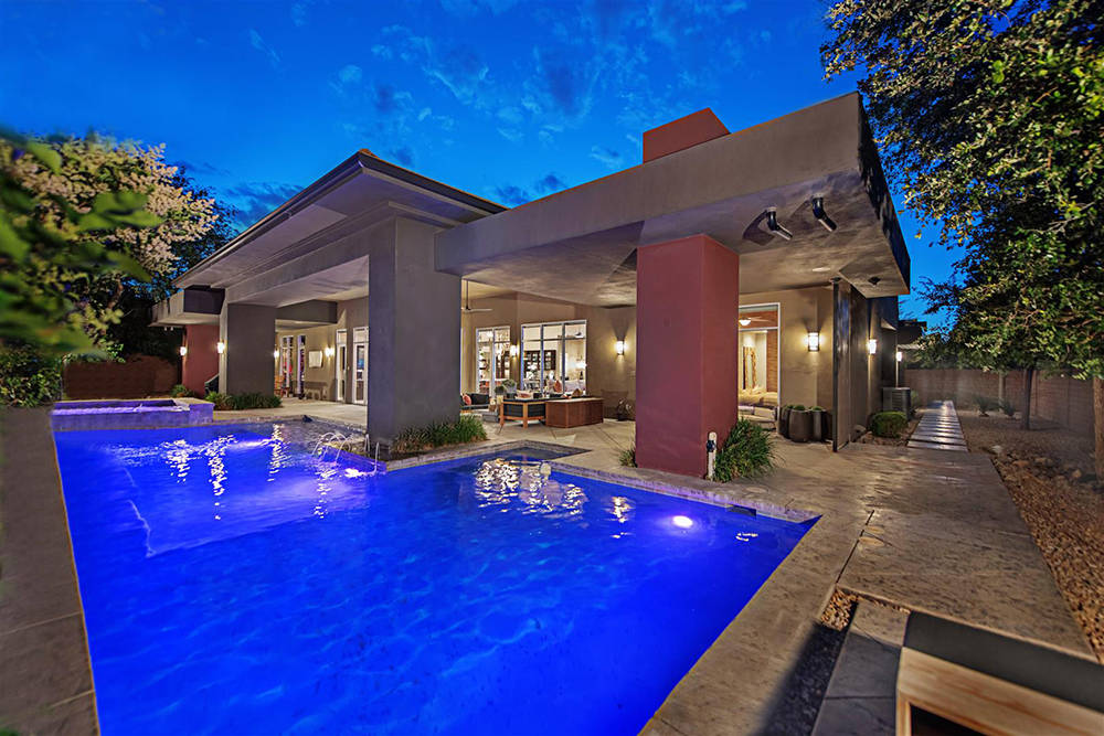 The Ridges home has a backyard with a pool and landscaping. (Luxury Homes of Las Vegas)