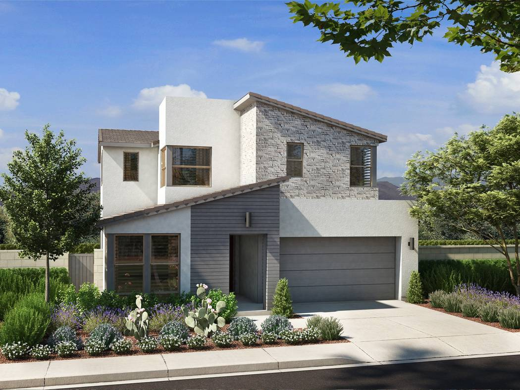 "Pardee Homes  Rendering of Pardee Home's Cobalt Plan One C ""Nevada Living,"" set to open for sales in the master-planned community of Skye Canyon in early September. Prices start at $360,000 with f ..."