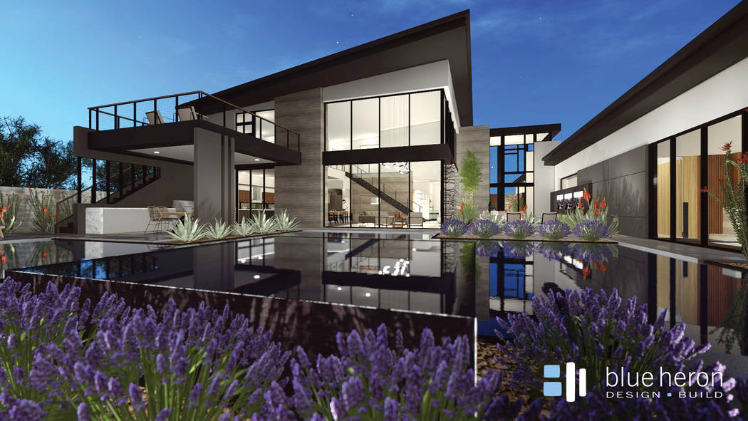 Blue Heron Homes  Rendering of Blue Heron Homes' Drexel design at its Midtown Modern community near Charleston Boulevard and Campbell Drive.