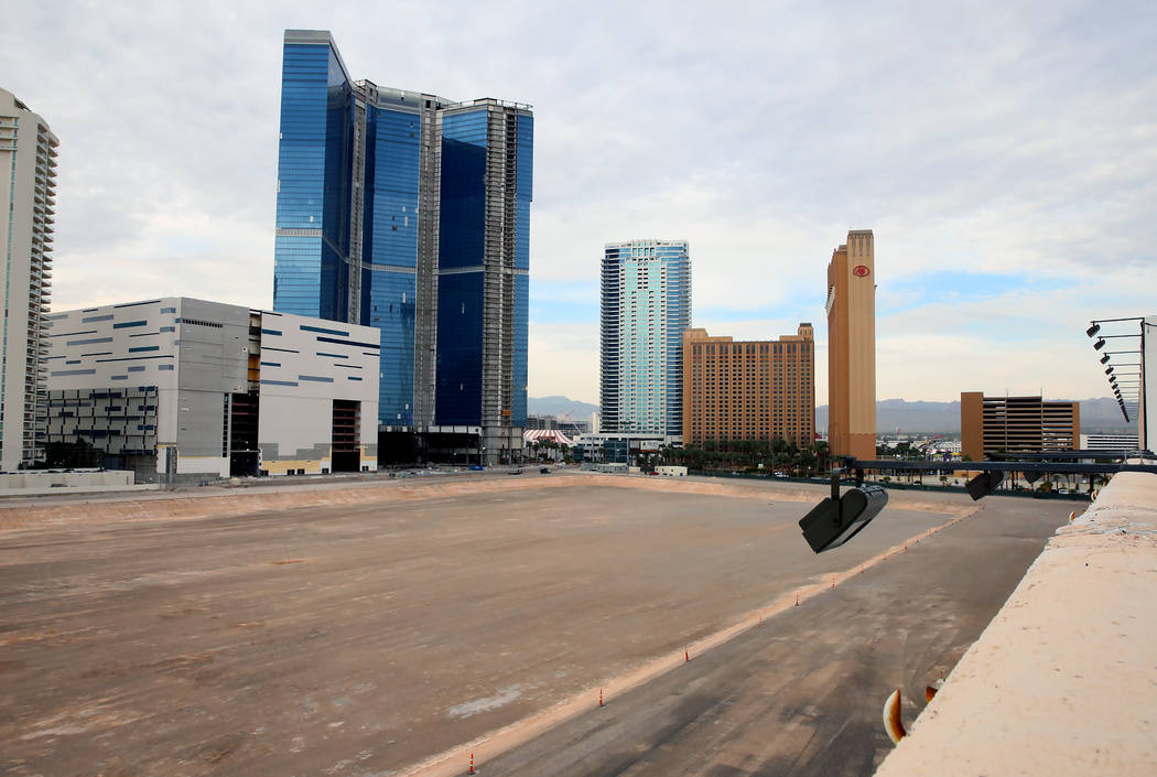The construction site where ex-NBA player Jackie Robinson has proposed a big expansion for his arena and hotel project at the north lot on Las Vegas Boulevard, between SLS and Fontainebleau. (Bizu ...