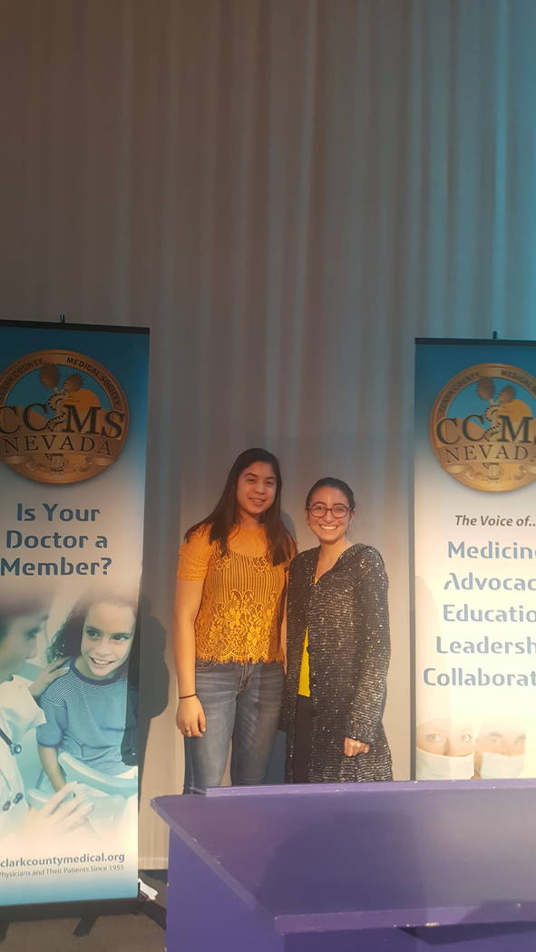 Briana Santana,17, left, and Kelly Trigueros, 17, both shadowed doctors as part of the third annual MiniMed internship program sponsored by the Clark County Medical Society. (Clark County Medical  ...