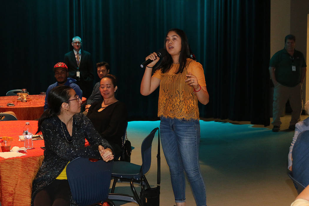 Briana Santana, 17, talks to other students about why she wants to be trauma doctor.  (Clark County Medical Society)