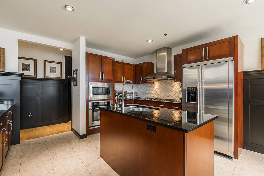 The kitchen in the Panorama Towers unit offers upgraded appliances. (Shapiro & Sher Group)
