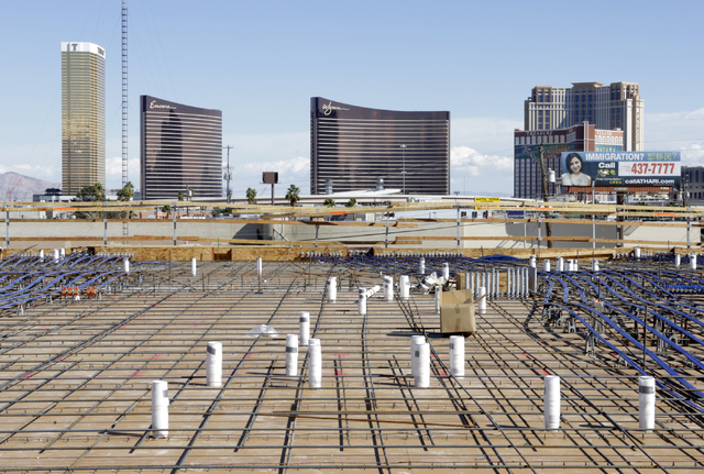 A view of the Las Vegas Strip as seen from the under construction 295-unit rental apartment development site in Chinatown on Feb. 22. (Bizuayehu Tesfaye Las Vegas Business Press)