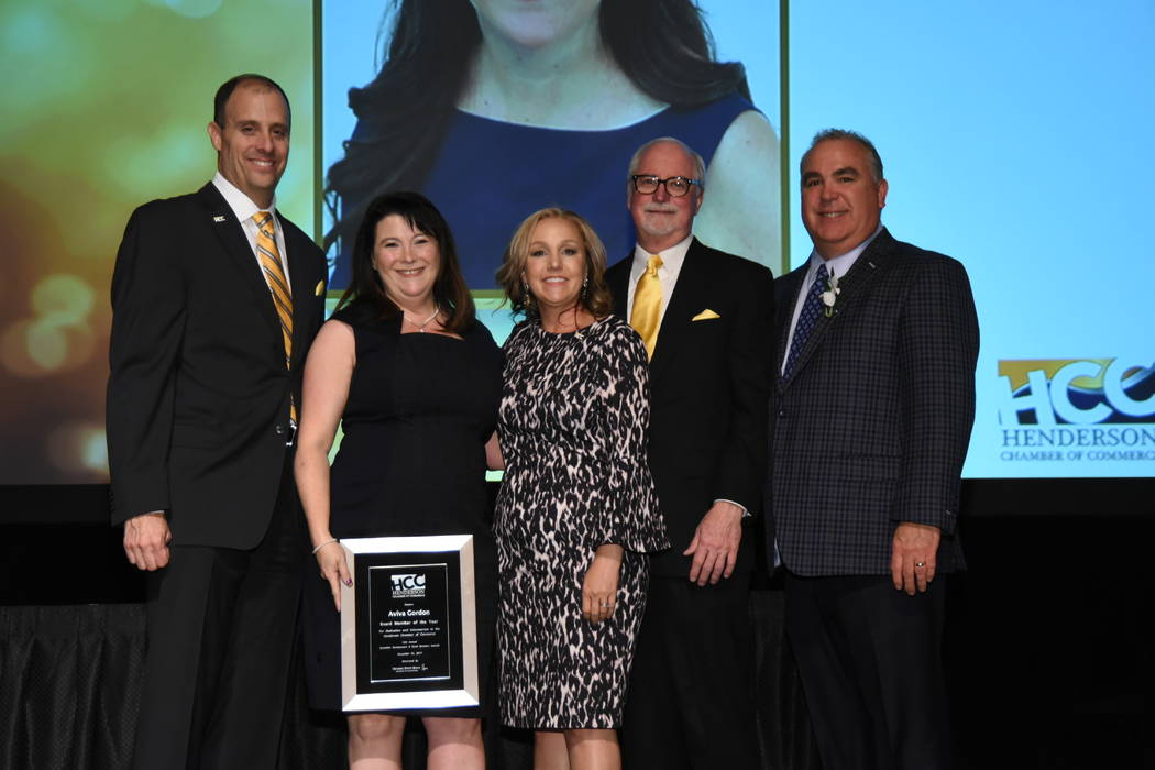 From left, Scott Muelrath, president and CEO of the Henderson Chamber of Commerce; Aviva Gordon, Gordon Law and recipient of Board Member of the Year Award; Amber Stidham, government affairs direc ...