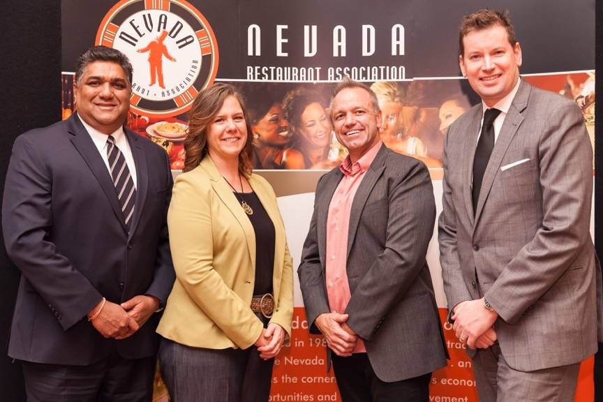 Bhushan Arolkar of Urban Turban, left, joins fellow Nevada Restaurant Association new board members: Linda Brookins of Caesars Entertainment, Anton Novak-Rounds of Bakery and Stewart Patchefsky of ...