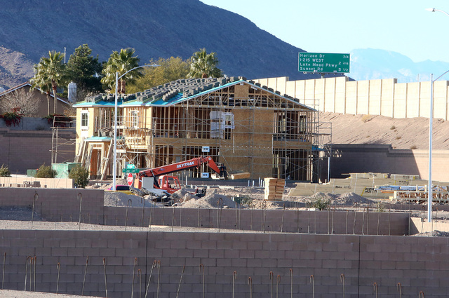 This Henderson housing development under construction on Mission Drive just west of College Drive in late 2016. (Bizuayehu Tesfaye Las Vegas Business Press)