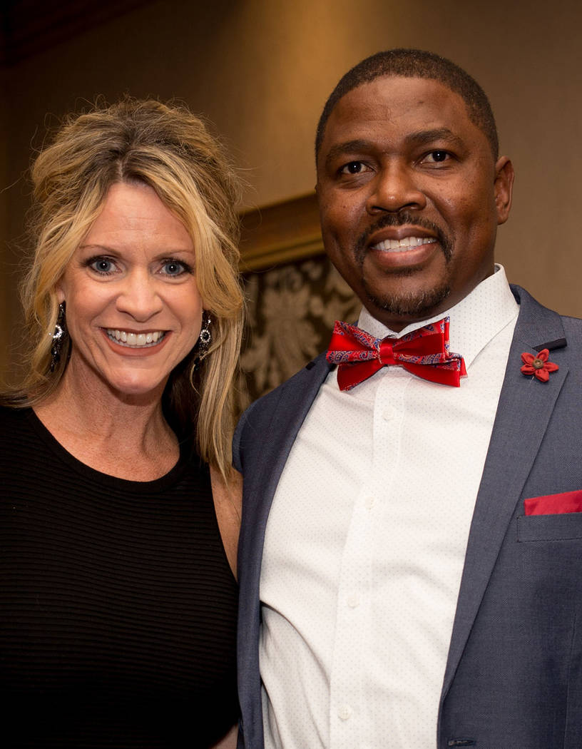 Kristen and Mannie Makhathini Lester, who was an award recipient, at the Nevada Association of Real Estate Brokers Jan. 27 installation dinner at the Suncoast. (Tonya Harvey Las Vegas Business Press)