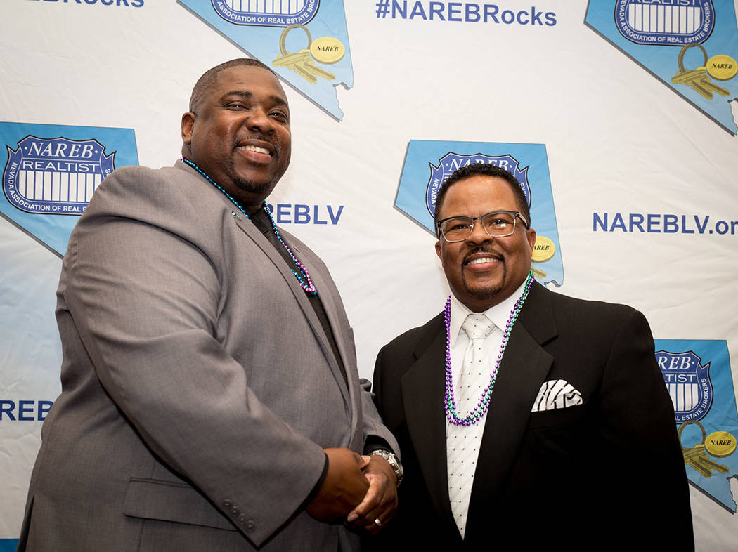 Brian Holifield, past Nevada Association of Real Estate Brokers president, and award recipient Greg Deville at the group's Jan. 27 installation dinner at the Suncoast. (Tonya Harvey Las Vegas Busi ...